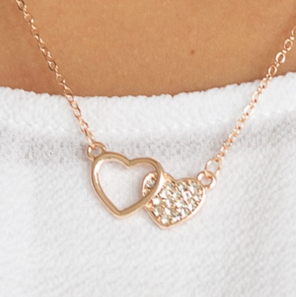 Paparazzi Jewelry Charming Couple Rose Gold Double Heart Necklace Poshmark